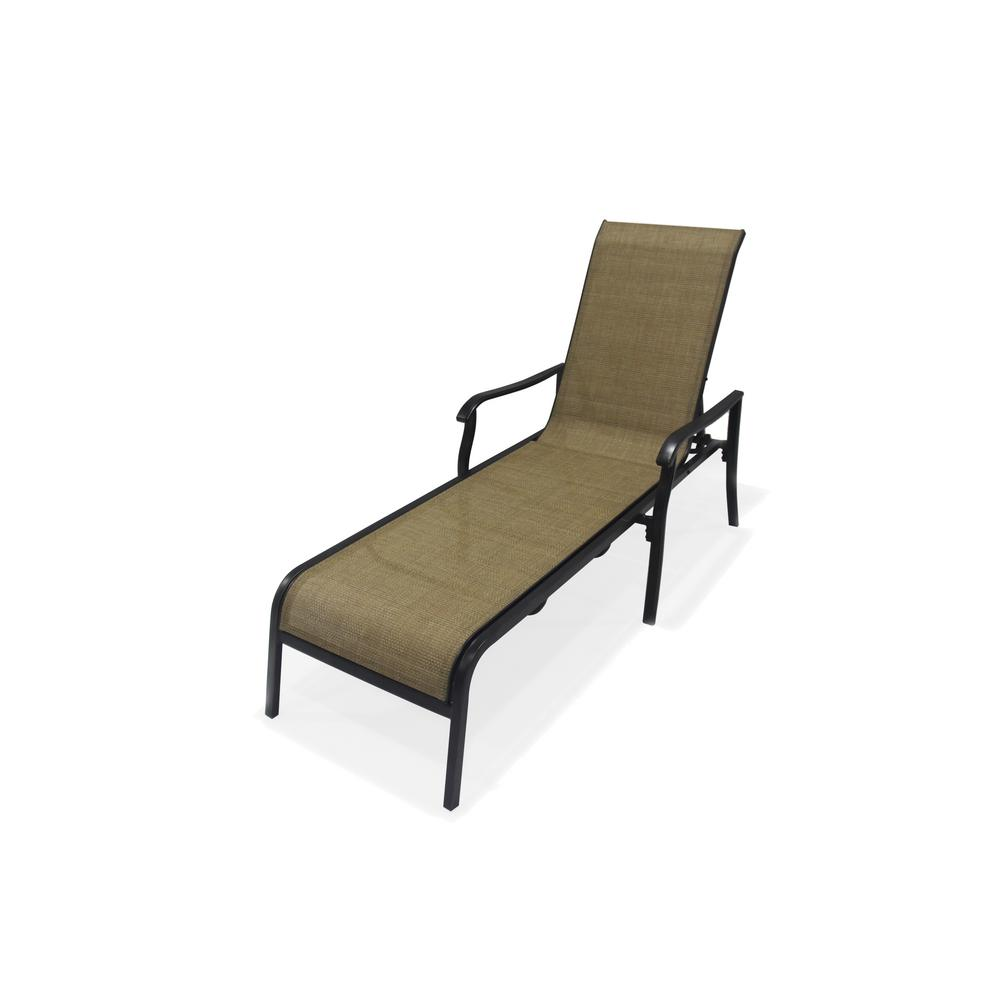 Hampton Bay Covina Aluminum Sling Patio Chaise Lounge As J