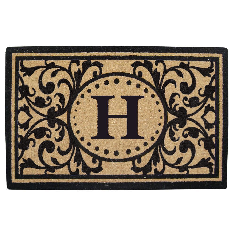 Heritage 30 in. x 48 in. Heavy Duty Coir Monogrammed H Door Mat