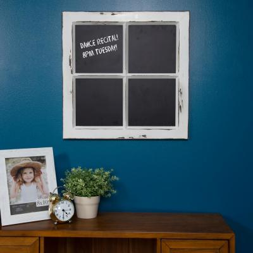 Framed Window Pane Distressed White Chalkboard Memo Board