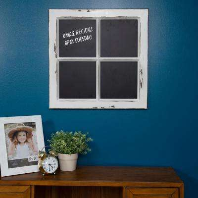 Framed Window Pane Distressed White Chalkboard Memo Board