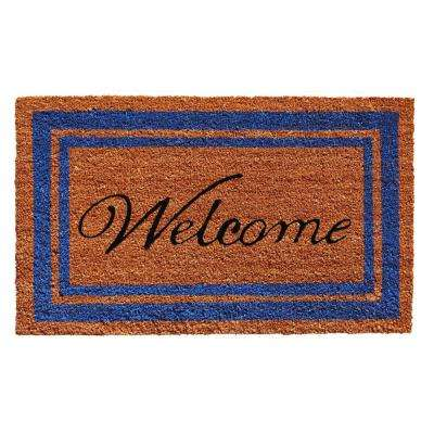 Blue Border Welcome Door Mat 18 in. x 30 in.