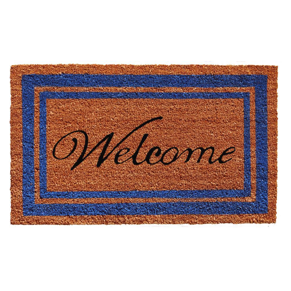 Blue Border Welcome Door Mat 18 in. x 30 in.