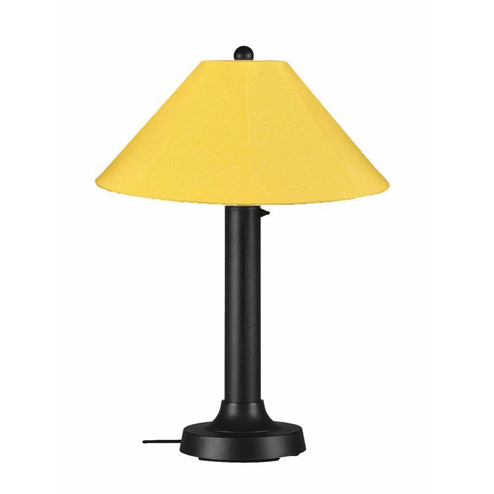 Patio Living Concepts Catalina 34 in. Black Outdoor Table Lamp with Buttercup Shade
