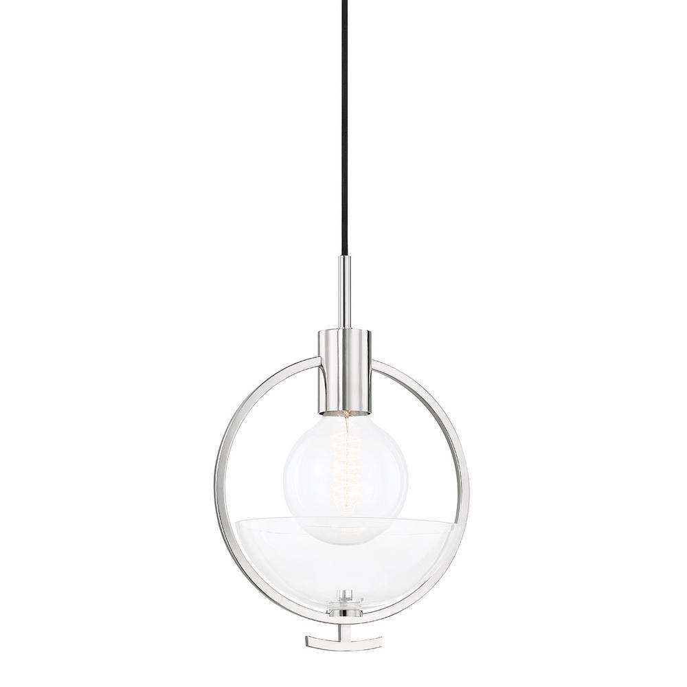 Ringo 1-Light Polished Nickel Pendant with Glass Shade