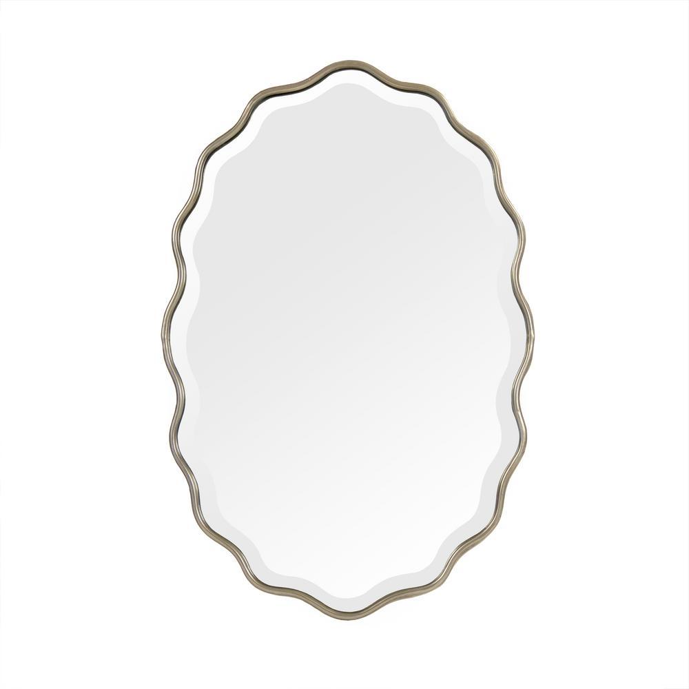 Medium Oval Antique Gold Beveled Glass Antiqued Art Deco Mirror (29.5 in. H x 19.5 in. W)