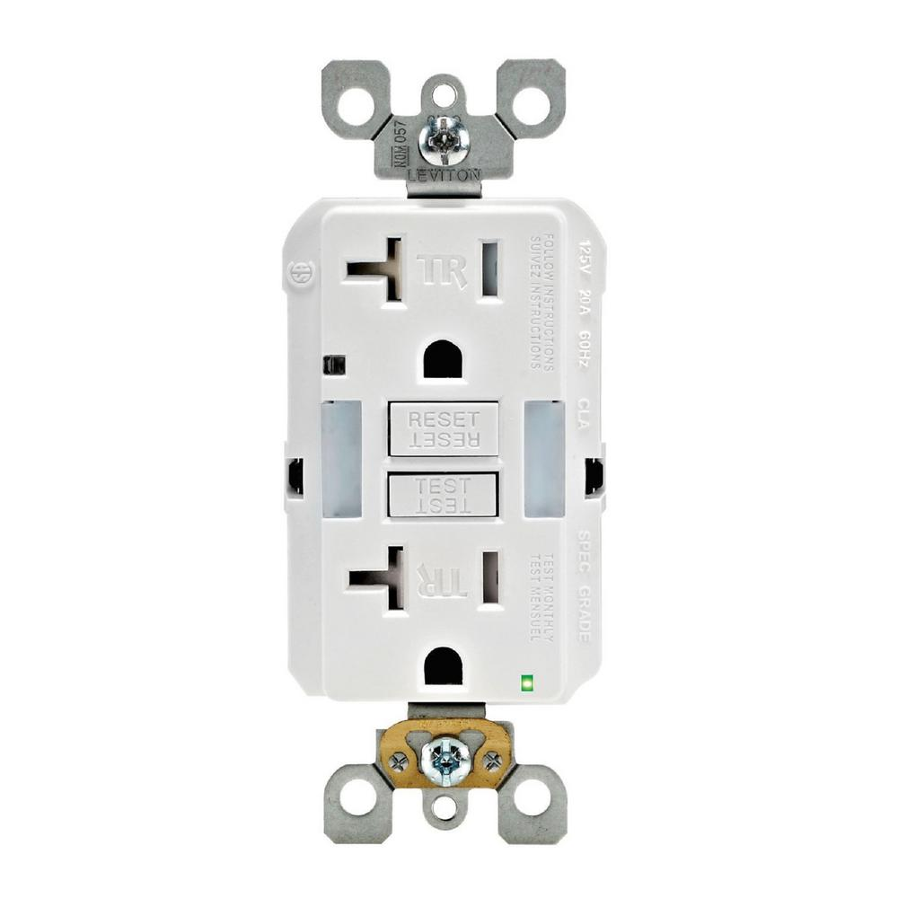 Leviton 20 Amp SmartlockPro Tamper Resistant GFCI Outlet with Guide Light, White