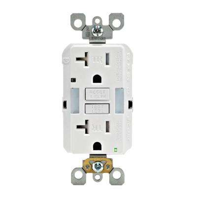 20 Amp SmartlockPro Tamper Resistant GFCI Outlet with Guide Light, White