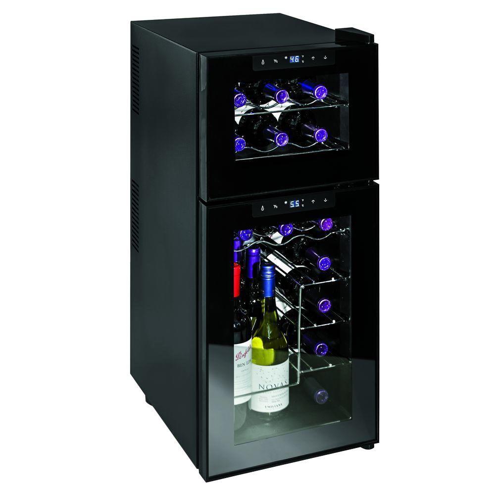 Wine Enthusiast 21-Bottle Silent Dual Zone Touchscreen Wine Cooler, Black