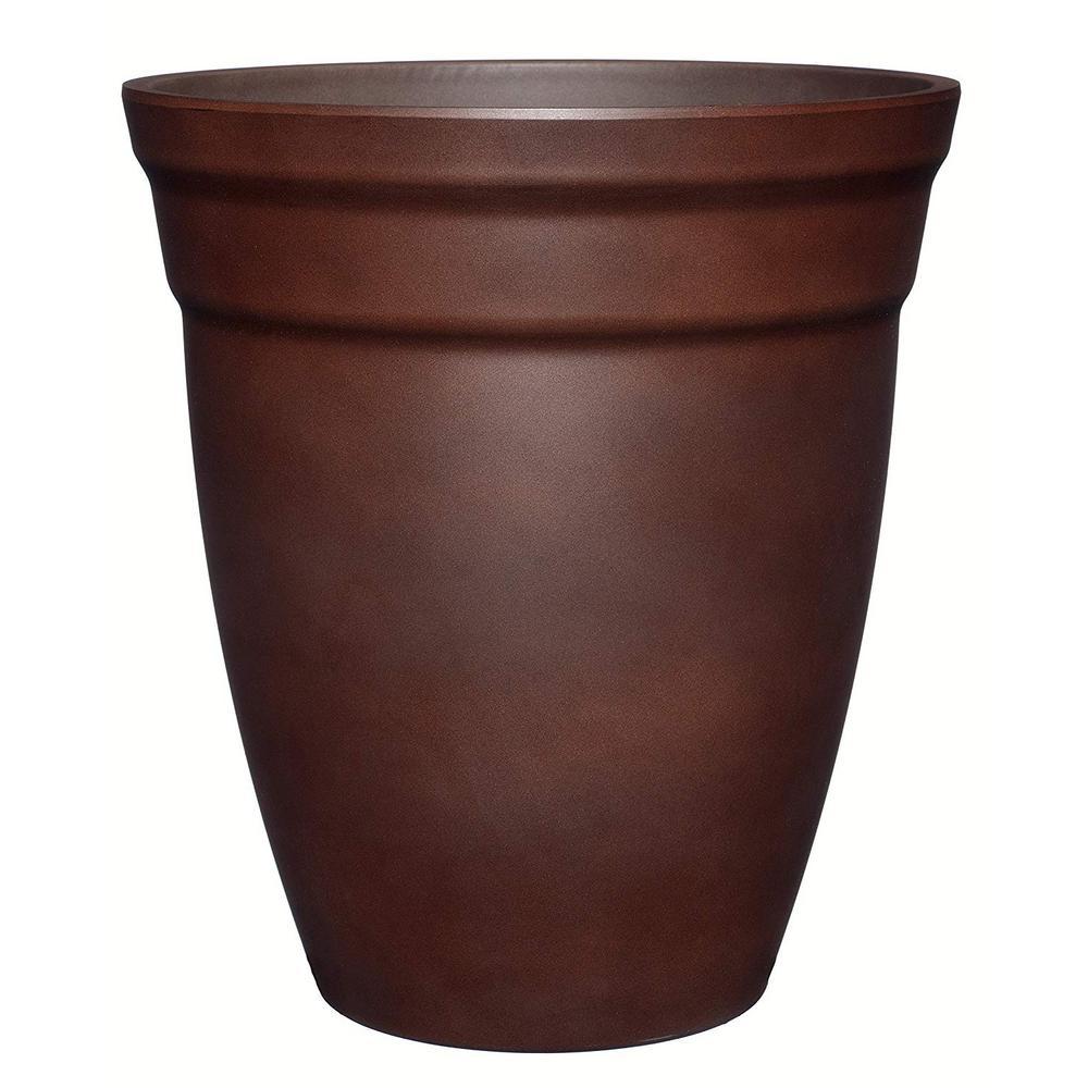 12 in. Cognac Brown Allaire Resin Planter
