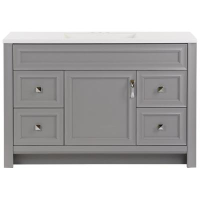 Candlesby 48 in. W x 19 in. D Bath Vanity in Sterling Gray with Cultured Marble Vanity Top in White with White Sink