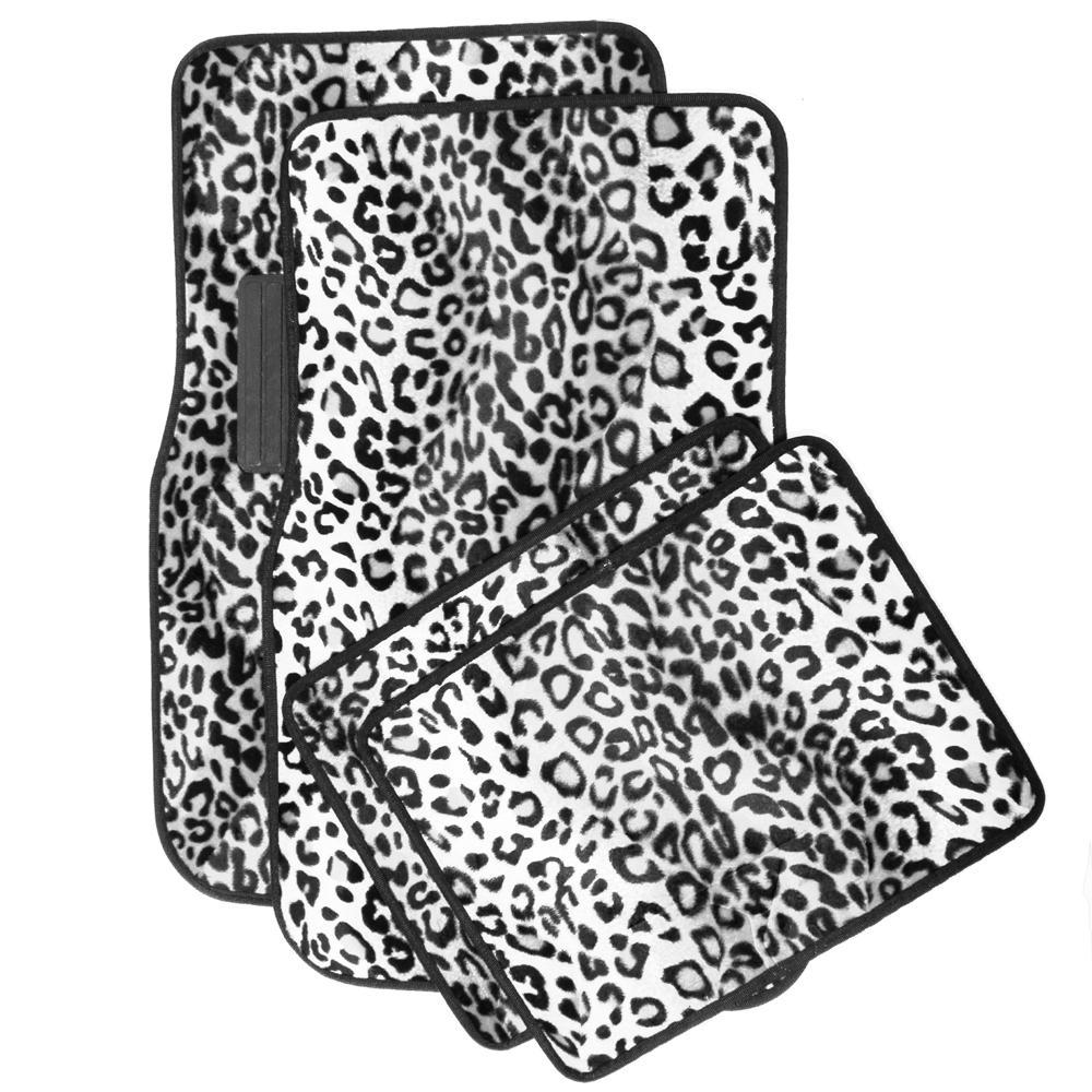 Leopard Snow White 4-Piece Heavy-Duty 26.5 in. x 17.25 in. Rubber Floor Mats