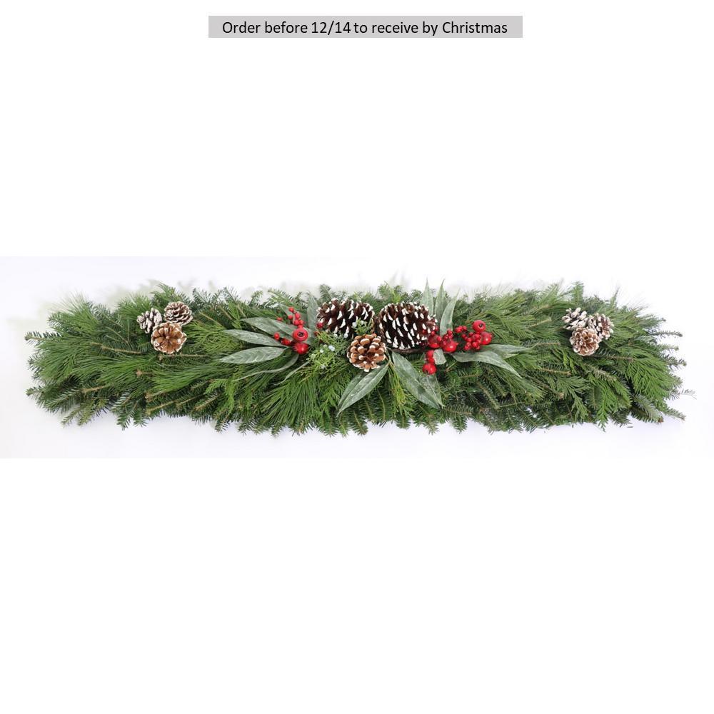 4 ft. Mixed Christmas Blueberry Fresh Evergreen Mantle Piece Garland