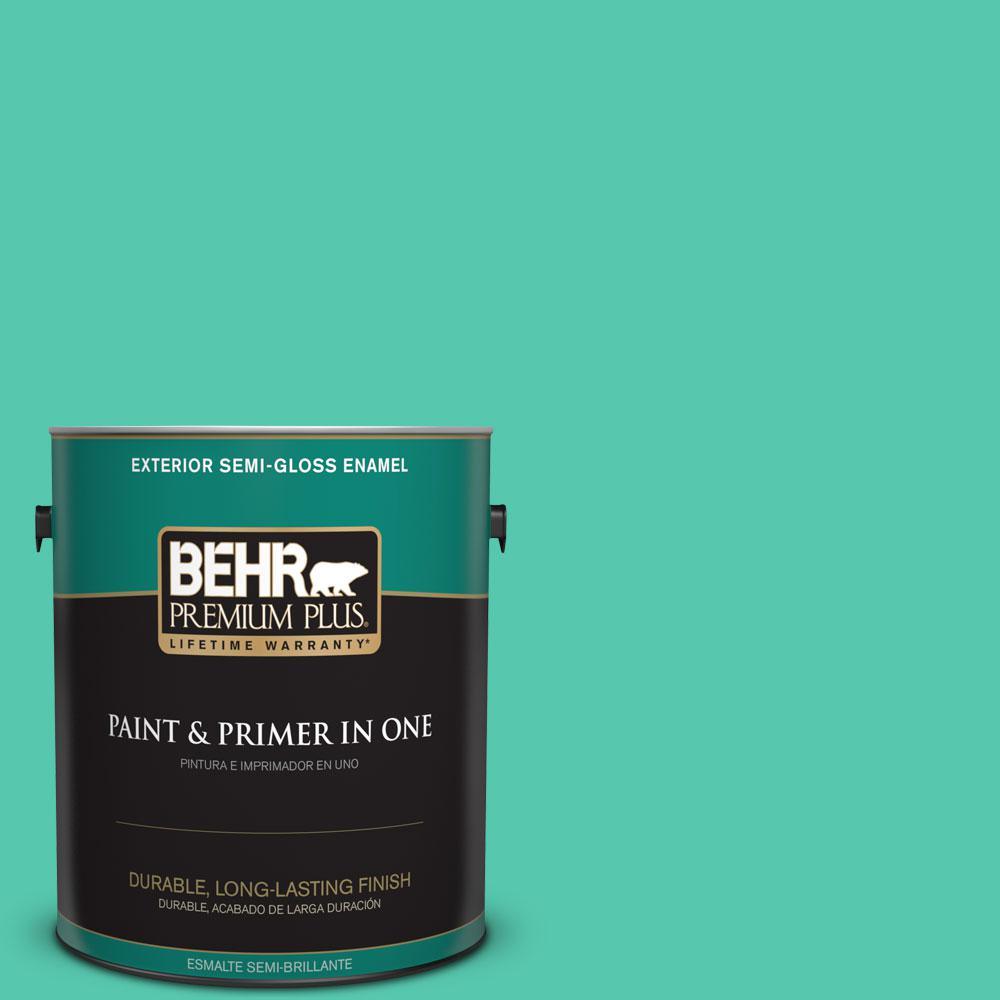 1-gal. #480B-4 Shoreline Green Semi-Gloss Enamel Exterior Paint