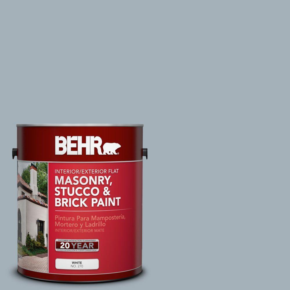 1-gal. #MS-72 Biscayne Bay Flat Interior/Exterior Masonry, Stucco and Brick Paint