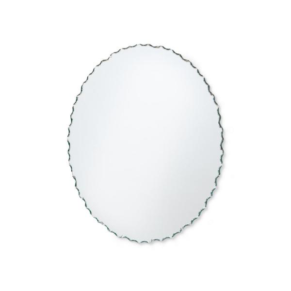24 in. W x 36 in. H Frameless Chiseled Oval Bathroom Vanity Mirror