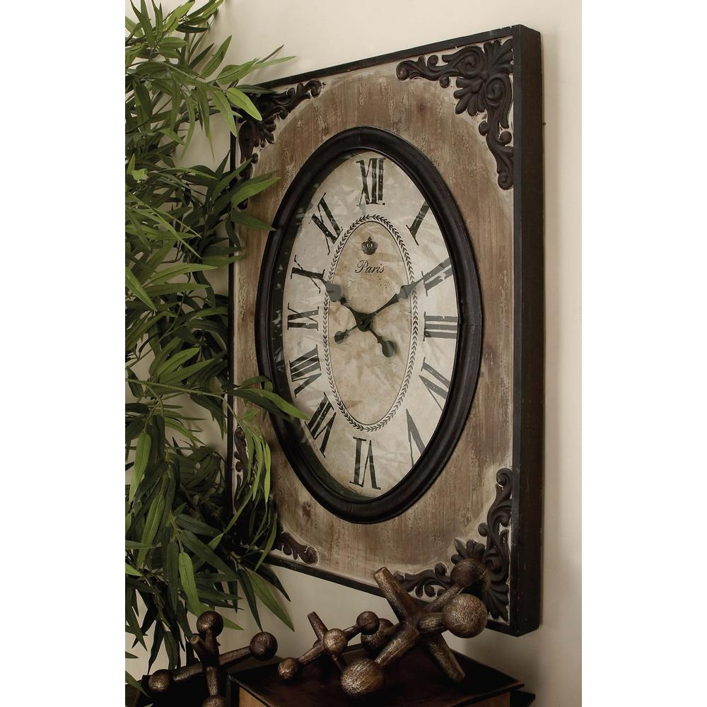 Traditional Rustic Wood And Iron Wall Clock