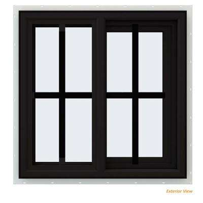 23.5 in. x 23.5 in. V-4500 Series Black Painted Vinyl Right-Handed Sliding Window with Colonial Grids/Grilles