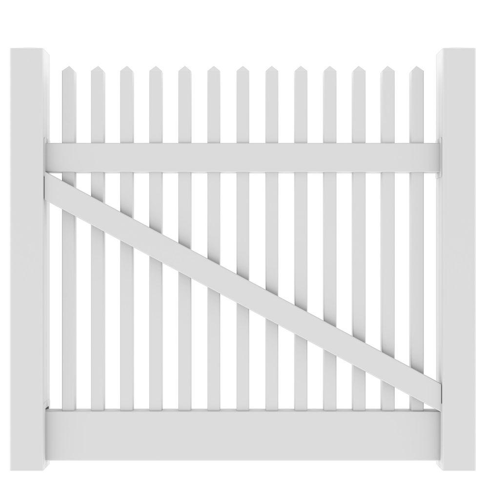 Veranda 5 ft. W x 4 ft. H Yukon Straight White Drive Gate