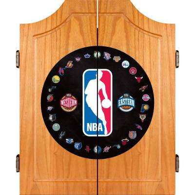 NBA Logo with All Teams Wood Finish Dart Cabinet Set