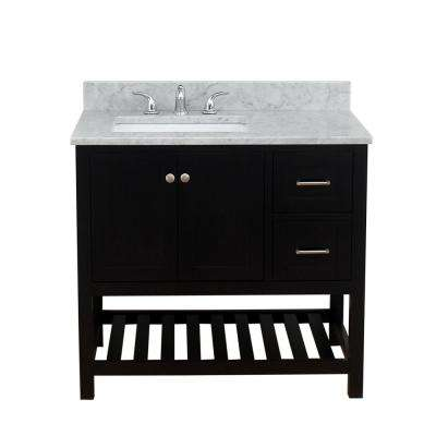 Westchester 37 in. W x 34 in. H Bath Vanity in Espresso with Marble Vanity Top in White with White Basin