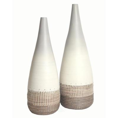 Spun White Bamboo and Coiled Seagrass Patterned Vase (Set of 2 Sizes)