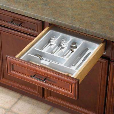 15 in. - 18 in. Tableware Drawer Organizer in White