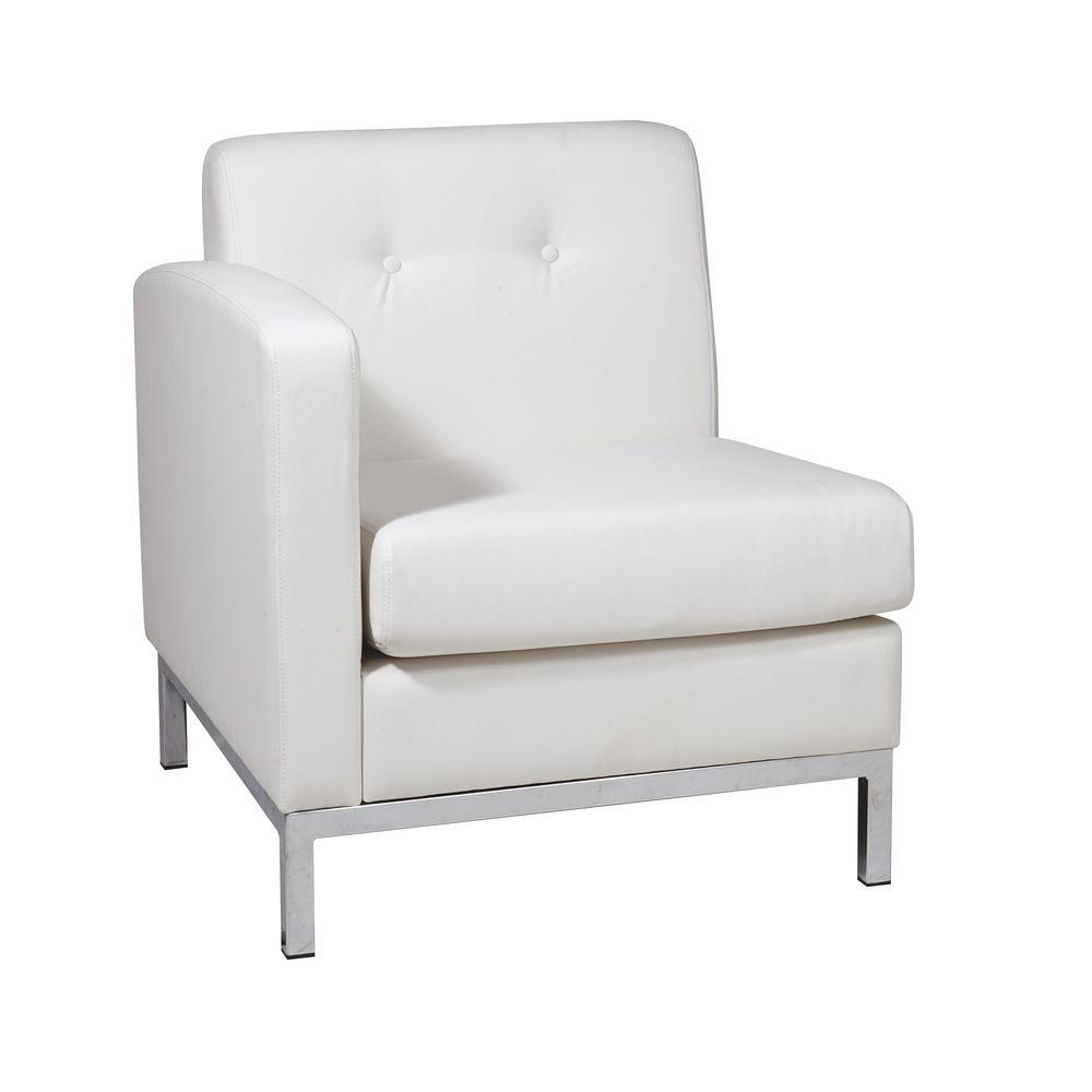 Avenue Six Wall Street White Faux Leather Sectional