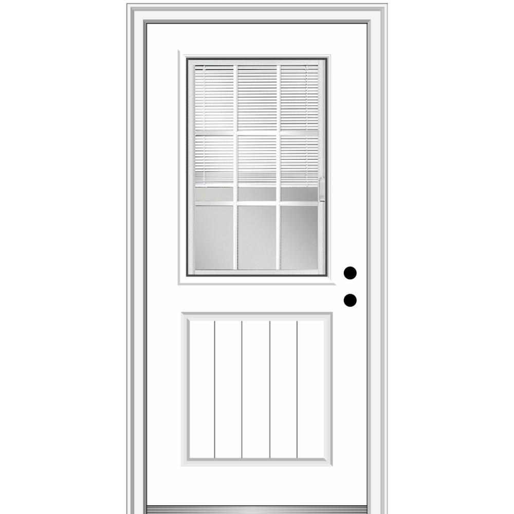 MMI Door 36 in. x 80 in. Internal Blinds and Grilles Left-Hand 1/2 Lite 1-Panel Clear Primed Fiberglass Smooth Prehung Front Door