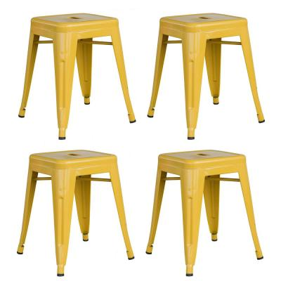 Loft Style 18 in. Stackable Metal Bar Stool in Gold (Set of 4)