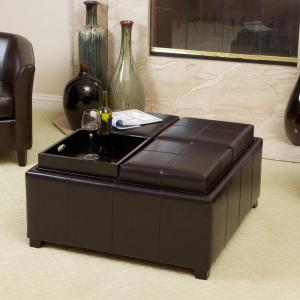 Le House Mason Espresso Brown Bonded Leather Tray Top