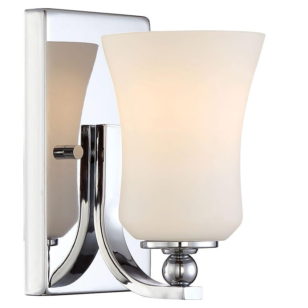 1-Light Chrome Square Bath Vanity Light with Etched White Glass