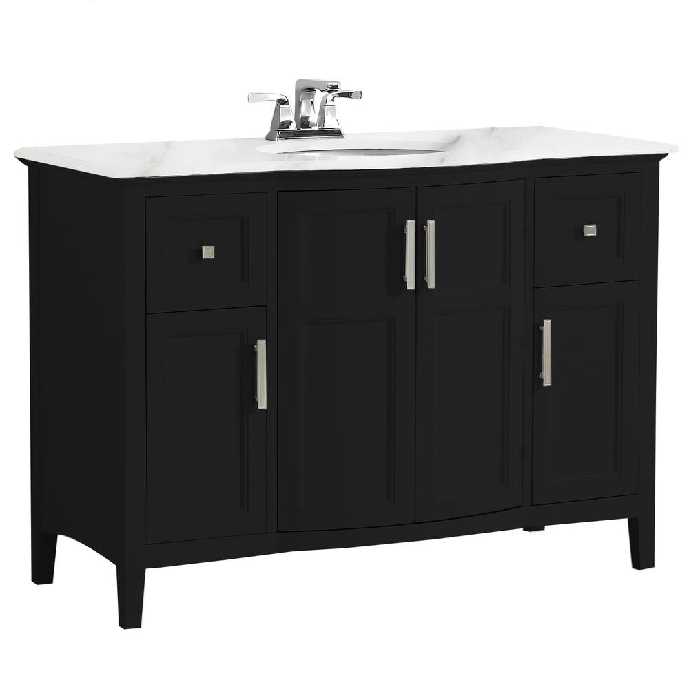 Simpli Home Winston 48 in. Rounded Front Bath Vanity in Black with Marble Extra Thick Vanity Top in Bombay White with White Basin