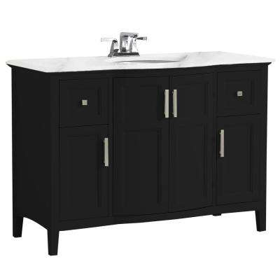 Winston 48 in. Rounded Front Bath Vanity in Black with Marble Extra Thick Vanity Top in Bombay White with White Basin