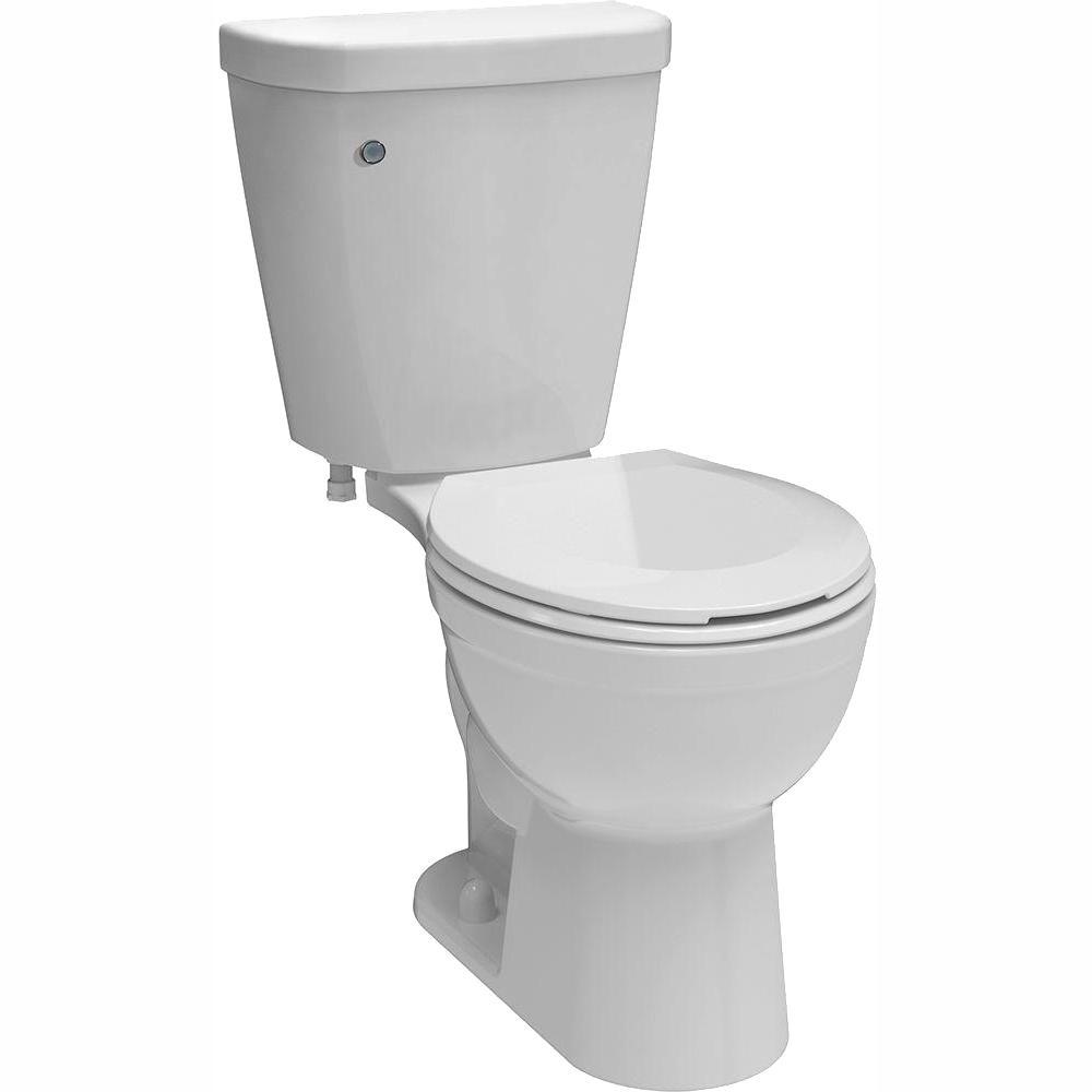 Brevard 2-piece 1.28 GPF Single Flush Round Toilet in White with FlushIQ