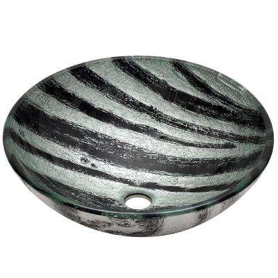 Aber Glass Vessel Sink in Classic Black and Silver Color Scheme