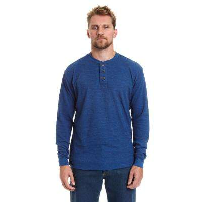 Men's Small Blue Heather Henley Thermal