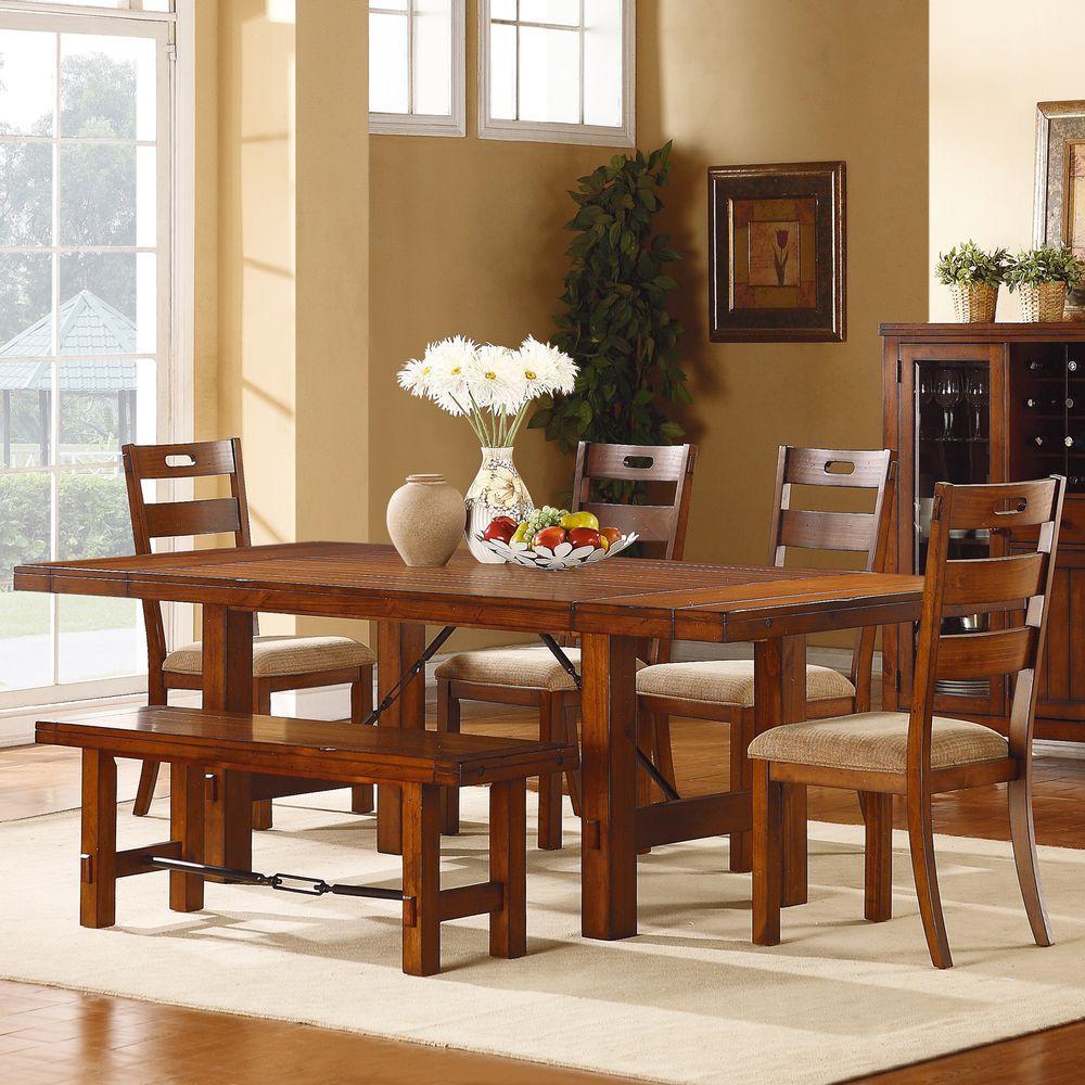 Vintage Dining Room Set: HomeSullivan Honea 6-Piece Vintage Oak Dining Set-402515