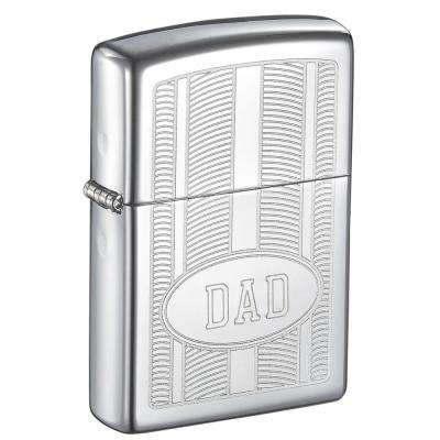 """Zippo """"DAD"""" Oval Design High Polish Father's Day Lighter"""