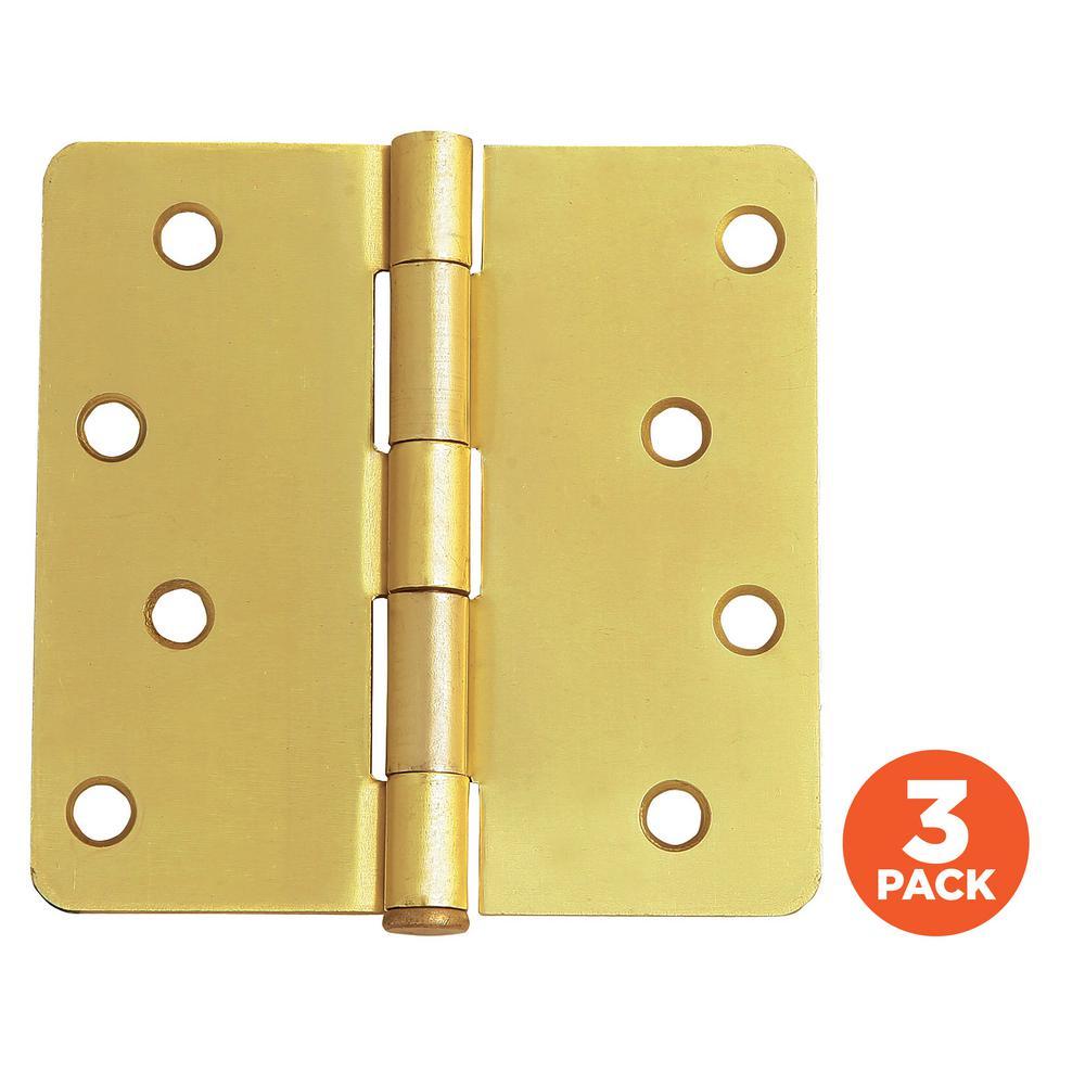 4 in. x 1/4 in. Radius Satin Brass Door Hinge Value Pack (3 per Pack)