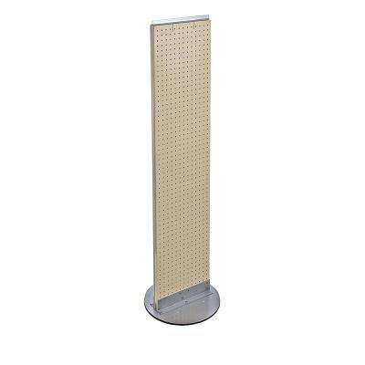 60 in. H x 13.5 in. W Styrene Pegboard Floor Display with Revolving Wheeled Base in Almond (2-Piece)