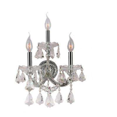 Maria Theresa Collection 3-Light Chrome with Clear Sconce
