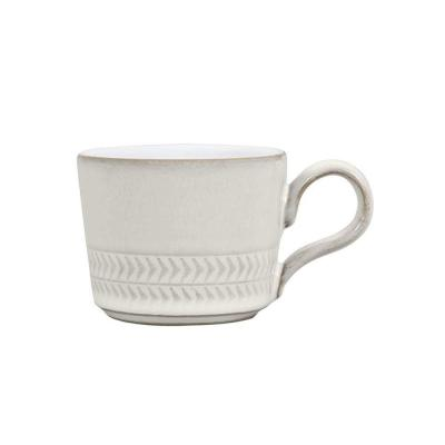 Natural Canvas 3 oz. White Stoneware Textured Large Espresso Cup