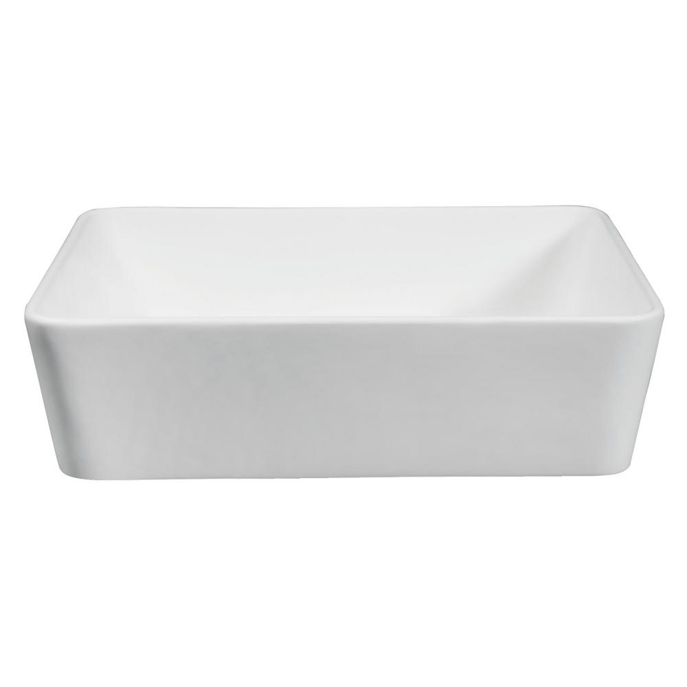 Amber Solid Surface Vessel Bathroom Sink in White