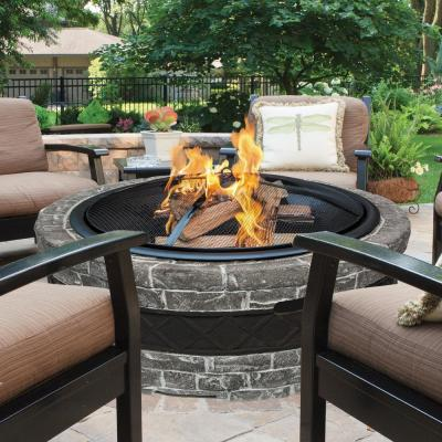 28 in. x 5.5 in. Round Cast Stone Wood Burning Fire Pit in Charcoal Gray