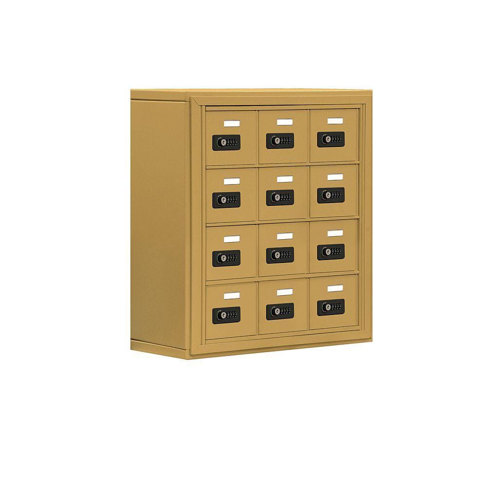 19000 Series 24 in. W x 25.5 in. H x 9.25 in. D 12 A Doors S-Mount Resettable Locks Cell Phone Locker in Gold