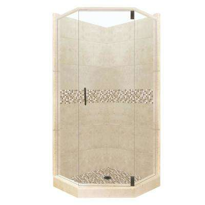 Roma Grand Hinged 32 in. x 36 in. x 80 in. Right-Cut Neo-Angle Shower Kit in Brown Sugar and Old Bronze Hardware