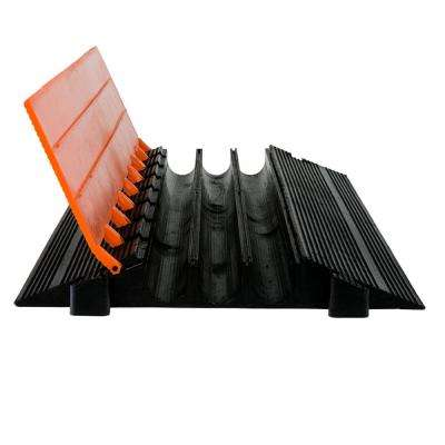 3 ft. 3-Channel Heavy Duty Cable Protector, Black/Orange