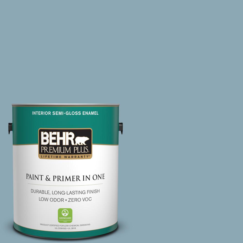 1-gal. #530F-4 Newport Blue Zero VOC Semi-Gloss Enamel Interior Paint