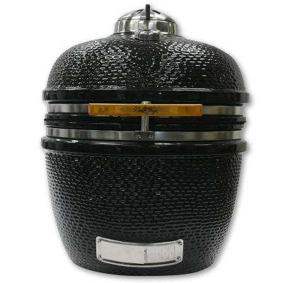 24 in. Charcoal Kamado Grill Smoker in Black