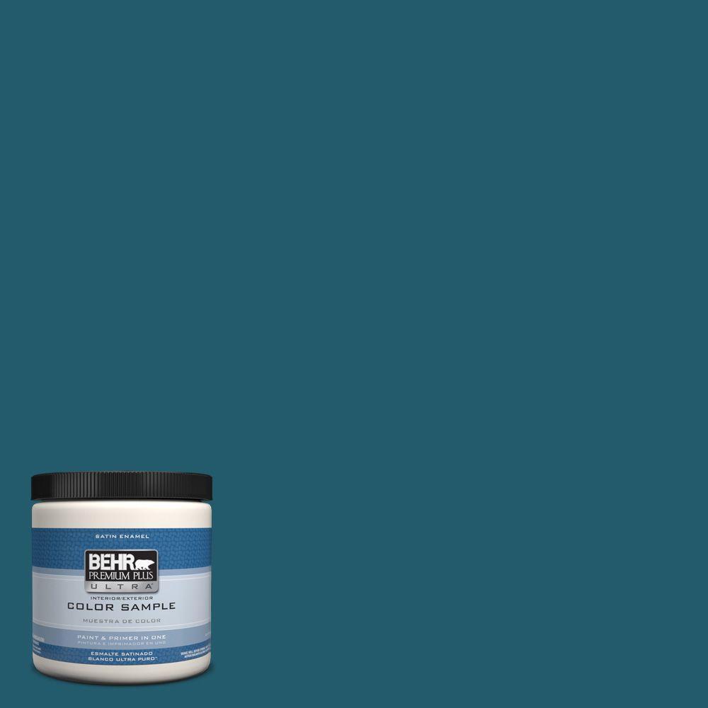 Behr Premium Plus Ultra 8 Oz T16 04 Galapagos Interior Exterior Satin Enamel Paint Sample